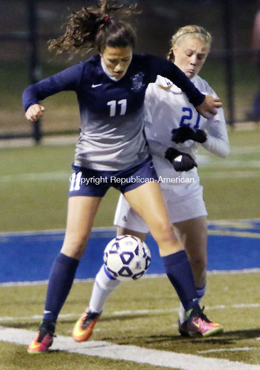 WATERBURY CT. 14 November 2016-110816SV13-#21 Morgan Sokol of Lewis Mills battles for the ball with #11 Kayla Mingachos of Immaculate during CIAC Class M semifinals at Municipal Stadium in Waterbury Monday.<br /> Steven Valenti Republican-American