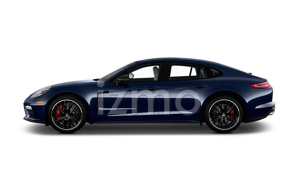 Car Driver side profile view of a 2018 Porsche Panamera Turbo 5 Door Hatchback Side View