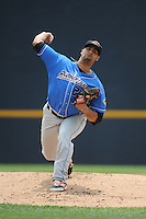 Akron RubberDucks pitcher Joe Colon (25) during game against the Trenton Thunder at ARM & HAMMER Park on July 14, 2014 in Trenton, NJ.  Akron defeated Trenton 5-2.  (Tomasso DeRosa/Four Seam Images)
