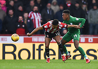 Preston's Darnell Fisher battles with Brentford's Ollie Watkins<br /> <br /> Photographer Jonathan Hobley/CameraSport<br /> <br /> The EFL Sky Bet Championship - Brentford v Preston North End - Saturday 10th February 2018 - Griffin Park - Brentford<br /> <br /> World Copyright &copy; 2018 CameraSport. All rights reserved. 43 Linden Ave. Countesthorpe. Leicester. England. LE8 5PG - Tel: +44 (0) 116 277 4147 - admin@camerasport.com - www.camerasport.com