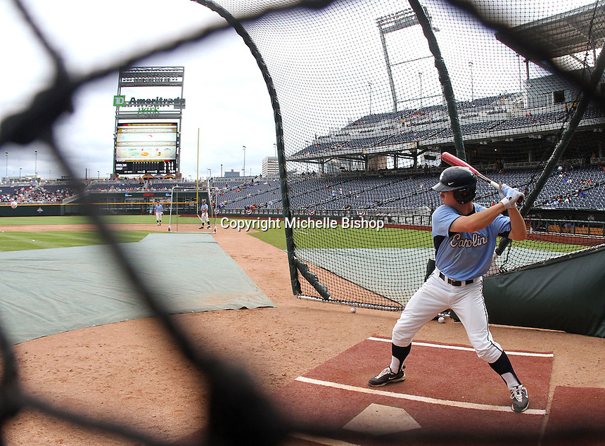 North Carolina's Tommy Coyle takes batting practice at TD Ameritrade Park before facing Vanderbilt. Vanderbilt's 5-1 win eliminated North Carolina from the College World Series in Omaha, Neb. (Photo by Michelle Bishop)..