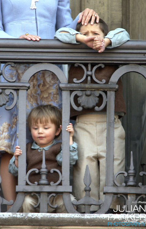 Prince's Nikolai & Felix appear on the balcony of The Amalienborg Palace in Copenhagen to celebrate The Queen of Denmark's 64th birthday..