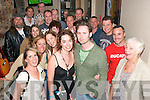 Wedding party.-------------.Sarah Barry(Rock St Tralee)and James Moore(Toronto Canada)standing front centre with some of their guests for a singsong in Roundies bar Market lane Tralee last Friday evening as they were about to marry the next day.   Copyright Kerry's Eye 2008