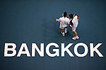 BANGKOK, THAILAND - OCTOBER 03:  Viktor Troicki (L) of Serbia and Christopher Kas of Germany talk on their doubles match against Jonathan Erlich of Israel and Jurgen Melzer of Austria during the Day 9 of the PTT Thailand Open at Impact Arena on October 3, 2010 in Bangkok, Thailand. Photo by Victor Fraile / The Power of Sport Images