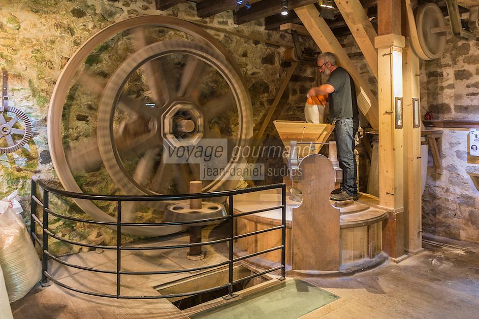 France, Bretagne, (29), Finistère, Cap Sizun, Beuzec-Cap-Sizun: Moulin de Kériolet, ce moulin a eau se trouve dans le vallon du Kériolet dans la zone protégée de la pointe du Millier - Ce moulin produit de la farine de blé noir et sarrazin _ Benoit Lauriou meunier // France, Brittany, Car Sizun, Beuzec Cap Sizun:  Kériolet mill, this water mill is in the Kériolet valley in the protected area of Pointe du Millier - This mill produces flour buckwheat and buckwheat - Benoit Lauriou miller<br />  [Autorisation : 2015-102]