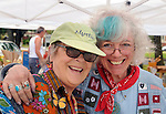 Maggie Green and Anita Barbour, at the Anita Barbour Art Corner, at the weekly Saugerties' Farmer's Market in Saugerties, NY on Saturday, July 2, 2016. Photo by Jim Peppler. Copyright Jim Peppler 2016.