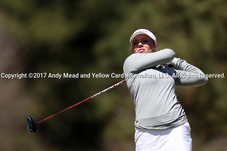 BROWNS SUMMIT, NC - APRIL 01: Alabama's Lauren Stephenson tees off on the 1st hole. The second round of the Bryan National Collegiate Women's Golf Tournament was held on April 1, 2017, at the Bryan Park Champions Course in Browns Summit, NC.