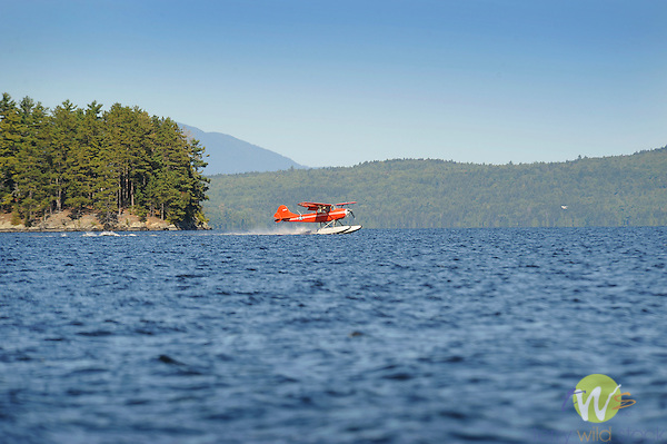 Red float plane and Moosehead Lake.
