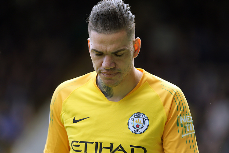 Manchester City's Ederson<br /> <br /> Photographer Rich Linley/CameraSport<br /> <br /> The Premier League - Burnley v Manchester City - Sunday 28th April 2019 - Turf Moor - Burnley<br /> <br /> World Copyright © 2019 CameraSport. All rights reserved. 43 Linden Ave. Countesthorpe. Leicester. England. LE8 5PG - Tel: +44 (0) 116 277 4147 - admin@camerasport.com - www.camerasport.com