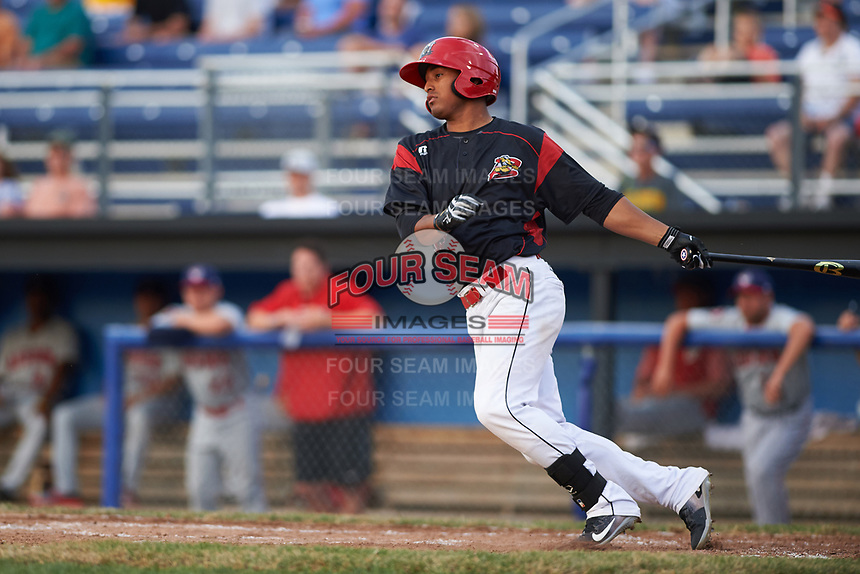 Batavia Muckdogs right fielder Jhonny Santos (13) at bat during a game against the Auburn Doubledays on July 6, 2017 at Dwyer Stadium in Batavia, New York.  Auburn defeated Batavia 4-3.  (Mike Janes/Four Seam Images)