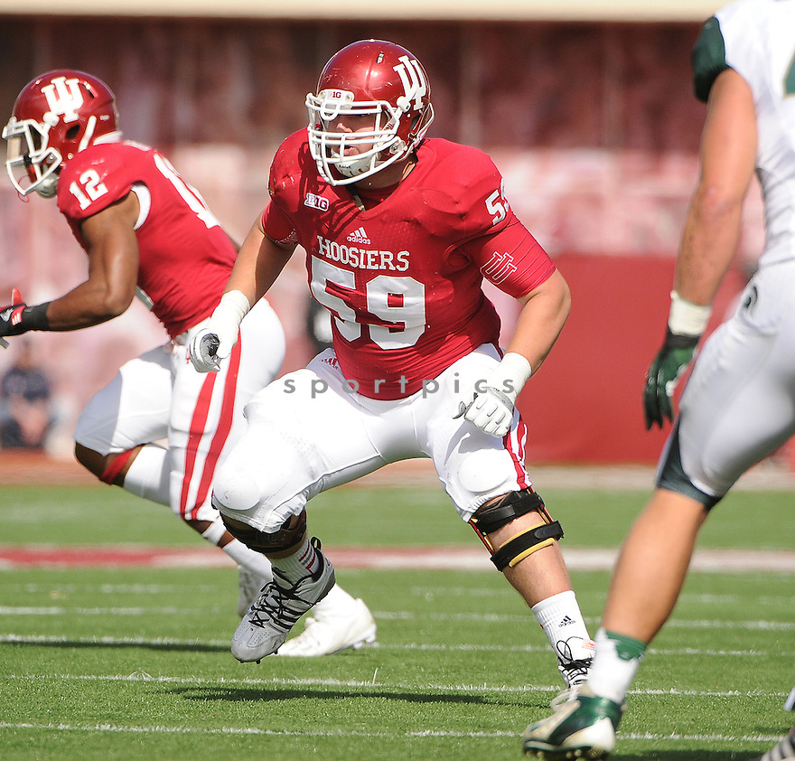 Indiana Hoosiers Peyton Eckert (59) in action during a game against Michigan State on October 6, 2012 at Memorial Stadium in Bloomington, IN. Michigan State beat Indiana 31-27.