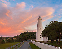 Cape Hatteras National Seashore, NC: Colorful sunrise at Ocracoke Island Lighthouse (1823) on Ocracoke Island