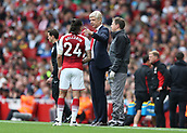 9th September 2017, Emirates Stadium, London, England; EPL Premier League Football, Arsenal versus Bournemouth; Arsenal manager Arsene Wenger talking to Hector Bellerin of Arsenal from the touchline