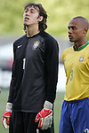 06 July 2007: Brazil's Cassio (left) and Luizao (right). The Under-20 Men's National Team of the United States defeated Brazil's Under-20 Men's National Team 2-1 in a Group D opening round match at Frank Clair Stadium in Ottawa, Ontario, Canada during the FIFA U-20 World Cup Canada 2007 tournament.