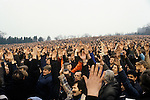 "Factory workers give a show of hands in support of  Union activist Derek ""Red Robbo"" Robinson Union Leader at British Leyland Longbridge car plant Birmingham 1970s.1979"