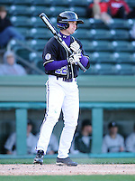 Outfielder Will Owens (22) of the Furman Paladins in a game against the Michigan State Spartans on February 25, 2012, at Fluor Field in Greenville, South Carolina. (Tom Priddy/Four Seam Images)