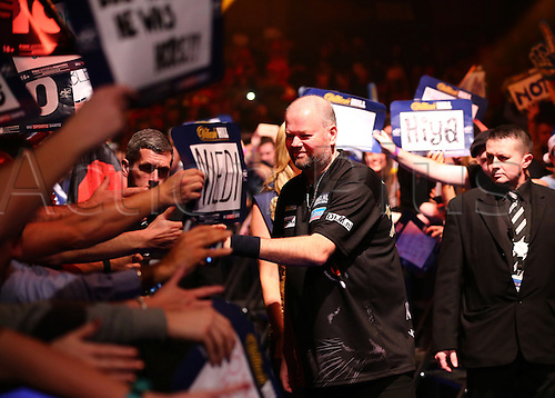 01.01.2017. Alexandra Palace, London, England. William Hill PDC World Darts Championship. Raymond van Barneveld high fives fans as makes the walk to the Oche, for his Semi Final match with Michael van Gerwen