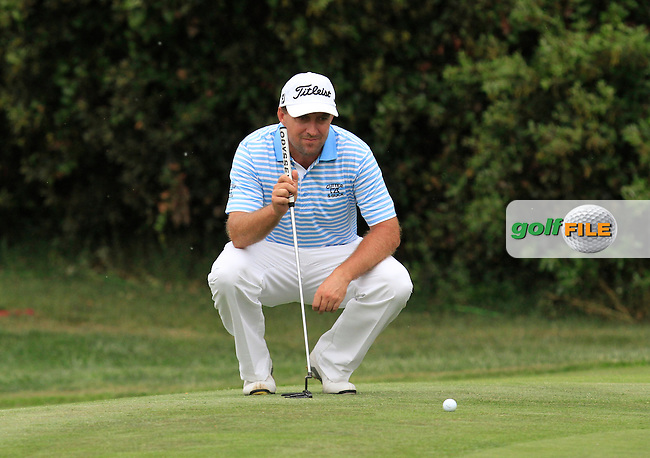 Darren Fichardt (RSA) on the 9th green during Round 1 of the Open de Espana  in Club de Golf el Prat, Barcelona on Thursday 14th May 2015.<br /> Picture:  Thos Caffrey / www.golffile.ie