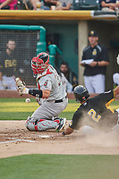 Bruce Maxwell (11) of the Nashville Sounds on defense against the Salt Lake Bees at Smith's Ballpark on July 28, 2018 in Salt Lake City, Utah. The Bees defeated the Sounds 11-6. (Stephen Smith/Four Seam Images)