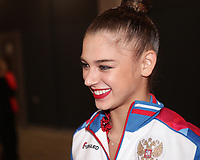 "September 12, 2018 - Sofia, Bulgaria - ALEKSANDRA SOLDATOVA of Russia smiles during tv interview at ""mixed zone"" at 2018 World Championships."