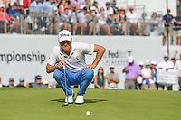 Justin Thomas (USA) lines up his birdie putt on 18 during Rd4 of the 2019 BMW Championship, Medinah Golf Club, Chicago, Illinois, USA. 8/18/2019.<br /> Picture Ken Murray / Golffile.ie<br /> <br /> All photo usage must carry mandatory copyright credit (© Golffile | Ken Murray)