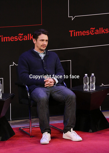 James Franco onstage at TimesTalks Presents 'An Evening With James Franco And Chris O'Dowd' at the Times Center on March 7, 2014 in New York City.<br />