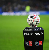A close up of a Mitre Emirates FA Cup football<br /> <br /> Photographer Andrew Vaughan/CameraSport<br /> <br /> Emirates FA Cup Third Round - Everton v Lincoln City - Saturday 5th January 2019 - Goodison Park - Liverpool<br />  <br /> World Copyright &copy; 2019 CameraSport. All rights reserved. 43 Linden Ave. Countesthorpe. Leicester. England. LE8 5PG - Tel: +44 (0) 116 277 4147 - admin@camerasport.com - www.camerasport.com