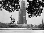 Pittsburgh PA:  The 42-story Cathedral of Learning is the tallest educational building in the Western hemisphere.  The 2,000 room and 2,529 window building was completed in 1937..View of the University of Pittsburgh Cathedral of Learning from Schenley Park - the Oakland section of Pittsburgh 1952