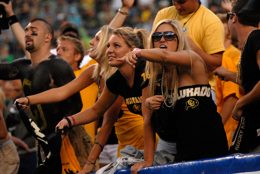 31 Aug 2008: Colorado fans get vocal during a game against Colorado State. The Colorado Buffaloes defeated the Colorado State Rams 38-17 at Invesco Field at Mile High in Denver, Colorado. FOR EDITORIAL USE ONLY