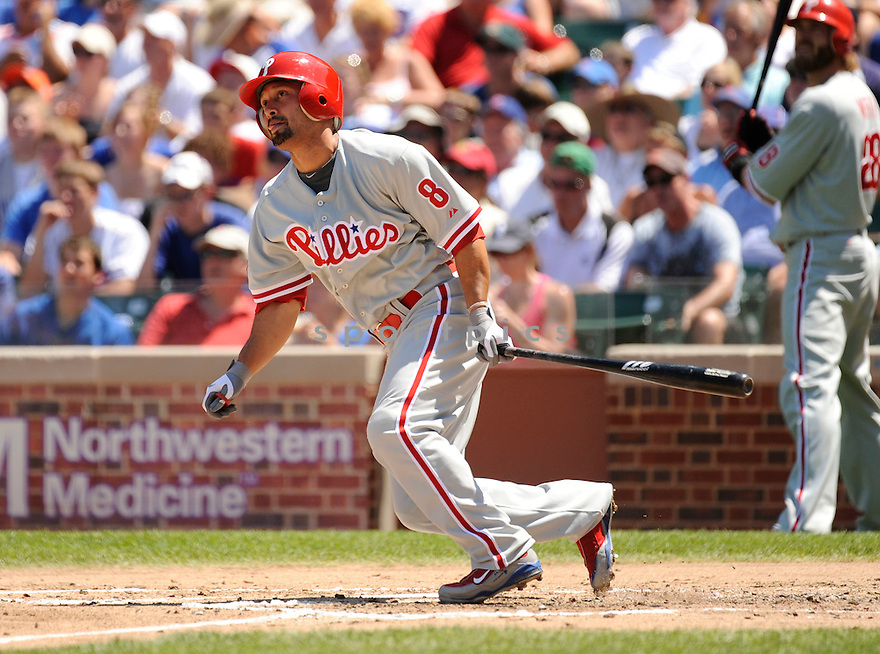 SHANE VICTORINO, of the Philadelphia Phillies ,in action during the Phillies  game against the Chicago Cubs in Chicago, IL on July 16, 2010.  The Cubs won the game 4-3.