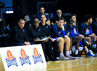 Saints head coach Paul Henare with assistant coaches Kenny Mcfadden and Troy McLean during the national basketball league match between Cigna Wellington Saints and Manawatu Jets at TSB Bank Arena in Wellington, New Zealand on Sunday, 16 June 2019. Photo: Dave Lintott / lintottphoto.co.nz