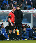 16.02.2020 Rangers v Livingston: Steven Gerrard with linesman after ignoring handball and disallowing Alfredo Morelos goal