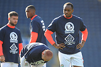 Blackburn Rovers' Ryan Nyambe during the pre-match warm-up <br /> <br /> Photographer Kevin Barnes/CameraSport<br /> <br /> The EFL Sky Bet Championship - Blackburn Rovers v Huddersfield Town - Saturday 19th October 2019 - Ewood Park - Blackburn<br /> <br /> World Copyright © 2019 CameraSport. All rights reserved. 43 Linden Ave. Countesthorpe. Leicester. England. LE8 5PG - Tel: +44 (0) 116 277 4147 - admin@camerasport.com - www.camerasport.com
