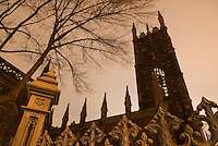 AVAILABLE FROM JEFF AS A FINE ART PRINT<br /> <br /> AVAILABLE FOR COMMERCIAL AND EDITORIAL LICENSING FROM PLAINPICTURE.  Please go to www.plainpicture.com and search for image # p5690034.<br /> <br /> Gothic Revival Church Exterior and Overcast Sky at Night, First Presbyterian Church (Built 1846), Fifth Avenue, Greenwich Village, New York City, New York State, USA