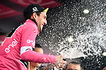 Simon Yates (GBR) Mitchelton-Scott retains the race leaders Maglia Rosa at the end of Stage 17 of the 2018 Giro d'Italia, The Franciacorta Stage running 155km from Riva del Garda to Iseo, Italy. 23rd May 2018.<br /> Picture: LaPresse/Massimo Paolone | Cyclefile<br /> <br /> <br /> All photos usage must carry mandatory copyright credit (&copy; Cyclefile | LaPresse/Massimo Paolone)
