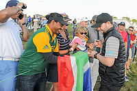 Brandon Grace (RSA) signs autographs for fans along 17 during round 2 Four-Ball of the 2017 President's Cup, Liberty National Golf Club, Jersey City, New Jersey, USA. 9/29/2017.<br /> Picture: Golffile | Ken Murray<br /> <br /> All photo usage must carry mandatory copyright credit (&copy; Golffile | Ken Murray)