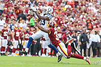 Landover, MD - September 16, 2018: Indianapolis Colts wide receiver T.Y. Hilton (13) catches a pass during the  game between Indianapolis Colts and Washington Redskins at FedEx Field in Landover, MD.   (Photo by Elliott Brown/Media Images International)