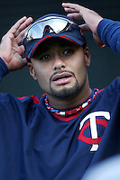 Johan Santana of the Minnesota Twins during batting practice before a 2007 MLB season game against the Los Angeles Angels at Angel Stadium in Anaheim, California. (Larry Goren/Four Seam Images)