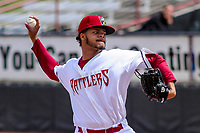 Wisconsin Timber Rattlers pitcher Rodrigo Benoit (35) delivers a pitch during a Midwest League game against the Clinton LumberKings on April 26, 2018 at Fox Cities Stadium in Appleton, Wisconsin. Clinton defeated Wisconsin 7-3. (Brad Krause/Four Seam Images)