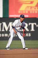 Antonio Nunez (7) of the Lancaster JetHawks at shortstop during a game against the Modesto Nuts at The Hanger on June 7, 2016 in Lancaster, California. Lancaster defeated Modesto, 3-2. (Larry Goren/Four Seam Images)