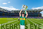Paul O Shea captain of the Kerry minor team celebrates after winning the Electric Ireland GAA Football All-Ireland Minor Championship final between Kerry and Galway at Croke Park, Dublin.