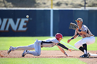Ben Rodriguez (6) of the Pepperdine Waves waits for a throw from the pitcher to first base during a game against the Fresno State Bulldogs at Eddy D. Field Stadium on March 7, 2017 in Los Angeles, California. Pepperdine defeated Fresno State, 8-7. (Larry Goren/Four Seam Images)