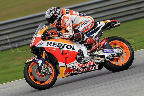 02.02.2016. Sepang, Malaysia.  Marc Marquez of Repsol Honda Team in action during the second day of official MotoGP testing session held at Sepang International Circuit in Sepang, Malaysia.