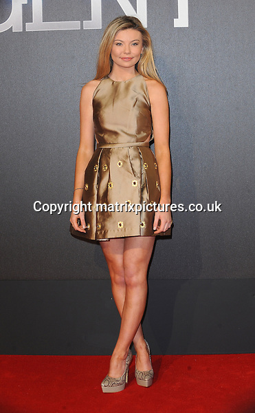 NON EXCLUSIVE PICTURE: PAUL TREADWAY / MATRIXPICTURES.CO.UK<br /> PLEASE CREDIT ALL USES<br /> <br /> WORLD RIGHTS<br />  <br /> English television personality Georgia Toffolo attends the world premiere of Insurgent at Odeon Leicester Square in London.<br /> <br /> MARCH 11th 2015<br /> <br /> REF: PTY 15780