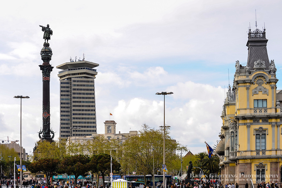 Spain, Barcelona. Barcelona's old Customs building and the Columbus Monument.
