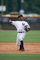 New York Yankees shortstop Jose Devers (4) throws to first base during an Instructional League game against the Pittsburgh Pirates on September 29, 2017 at the Yankees Minor League Complex in Tampa, Florida.  (Mike Janes/Four Seam Images)
