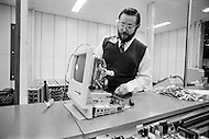 25 Jan 1984, Cupertino, California, USA --- Established on April 1, 1976 in Cupertino, California, and incorporated January 3, 1977, the company was named Apple Computer, Inc. for its first 30 years. Macintosch computer assembly line. --- Image by © JP Laffont