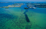 Aerial photograph of pleasure boats off Key West, Florida