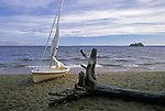 Small sailboat on the beach at Sebago Lake State Park, Naples, Maine, USA