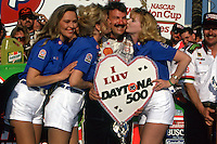 DAYTONA BEACH, FL - FEBRUARY 14: Dale Jarrett celebrates Valentine's Day in Victory Lane after winning the Daytona 500 NASCAR Winston Cup race at the Daytona International Speedway in Daytona Beach, Florida, on February 14, 1993.